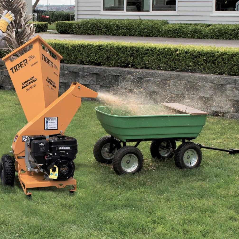 TIGER Chipper Shredder makes collection easy with raised exit chute